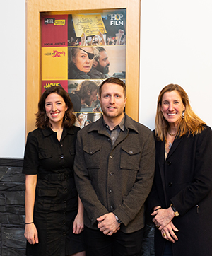 Heineman with Johanna Evans, Hop Film Programmer (left) and Sydney Stowe, Hop Director of Film (right). Photo by Robert Strong.