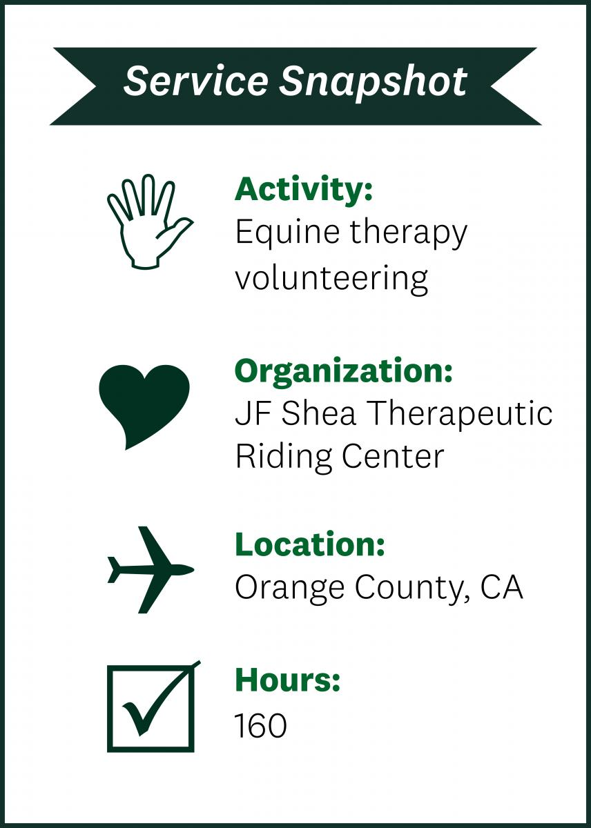 The family volunteered at the JF Shea Therapeutic Riding Center in Orange County, California, for 160 hours.