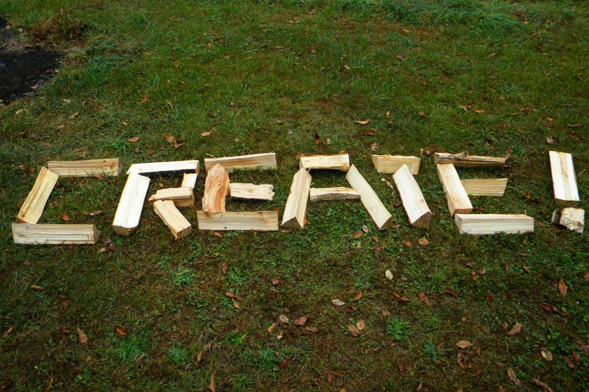 CREATE spelled out in wood