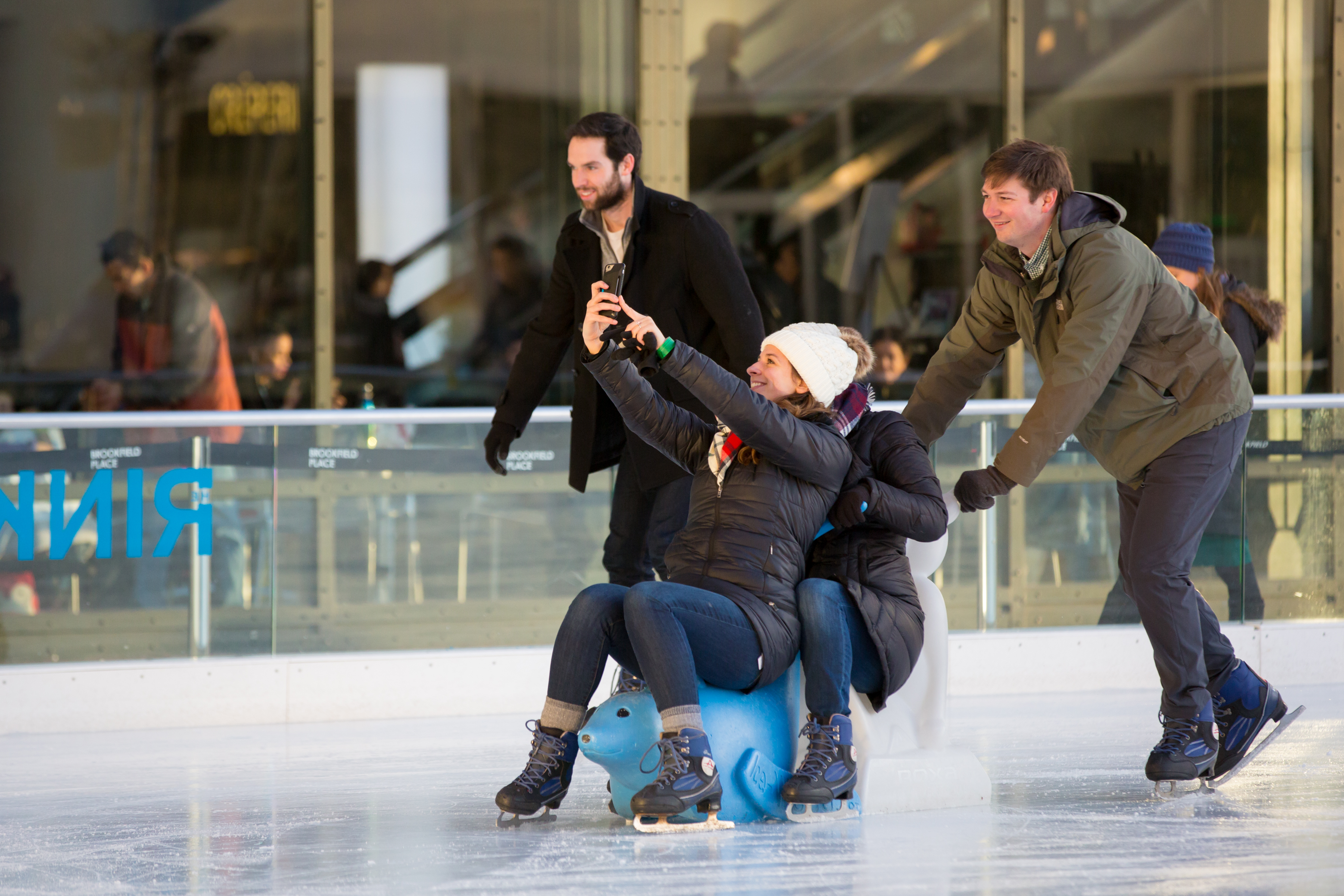 Alumni enjoyed time on the ice at Brookfield Place