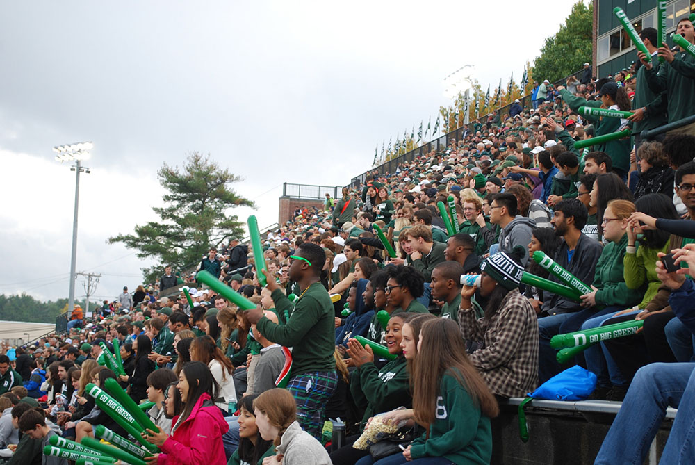 crowd cheering at Dartmouth football game
