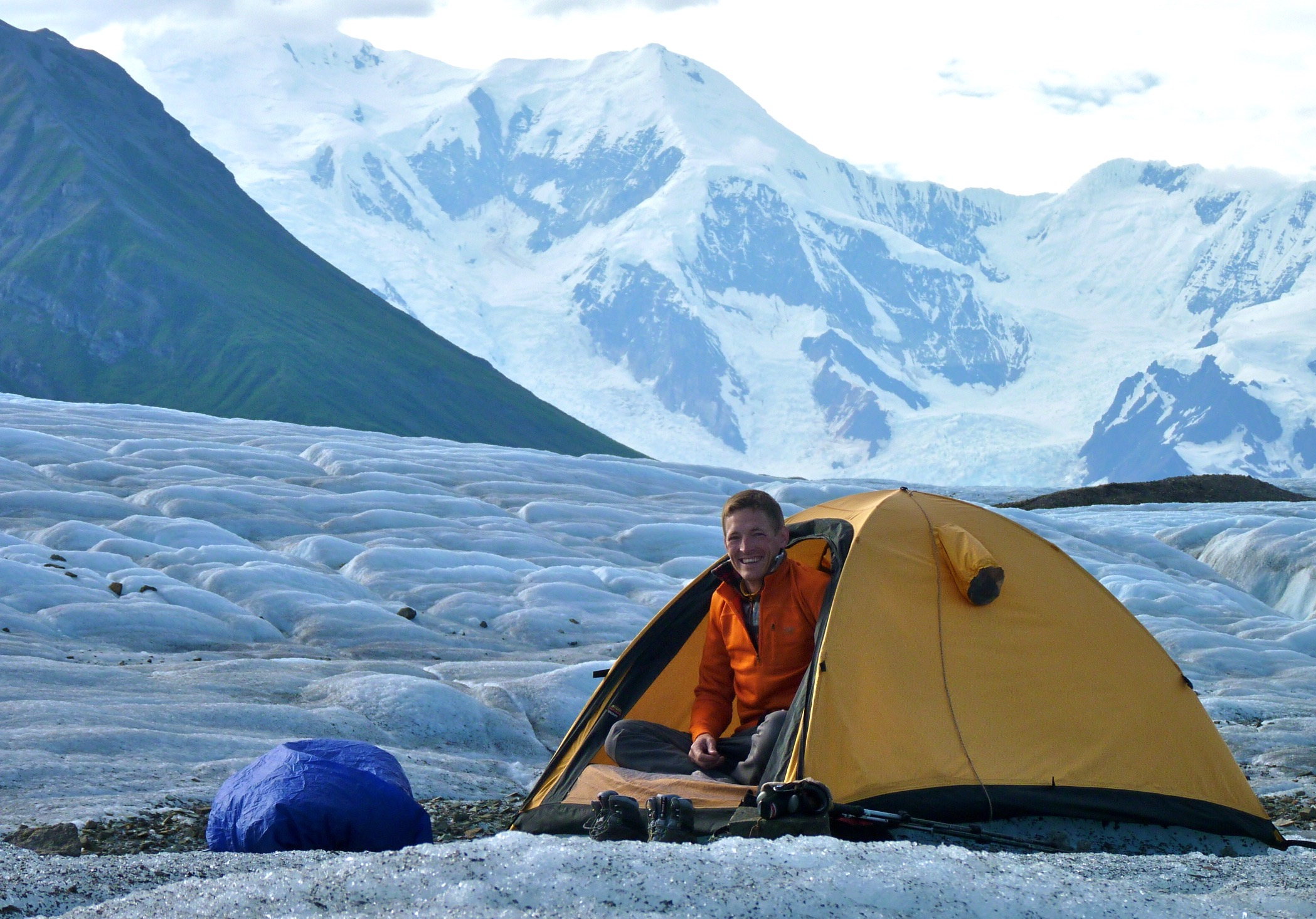 camping on a glacier