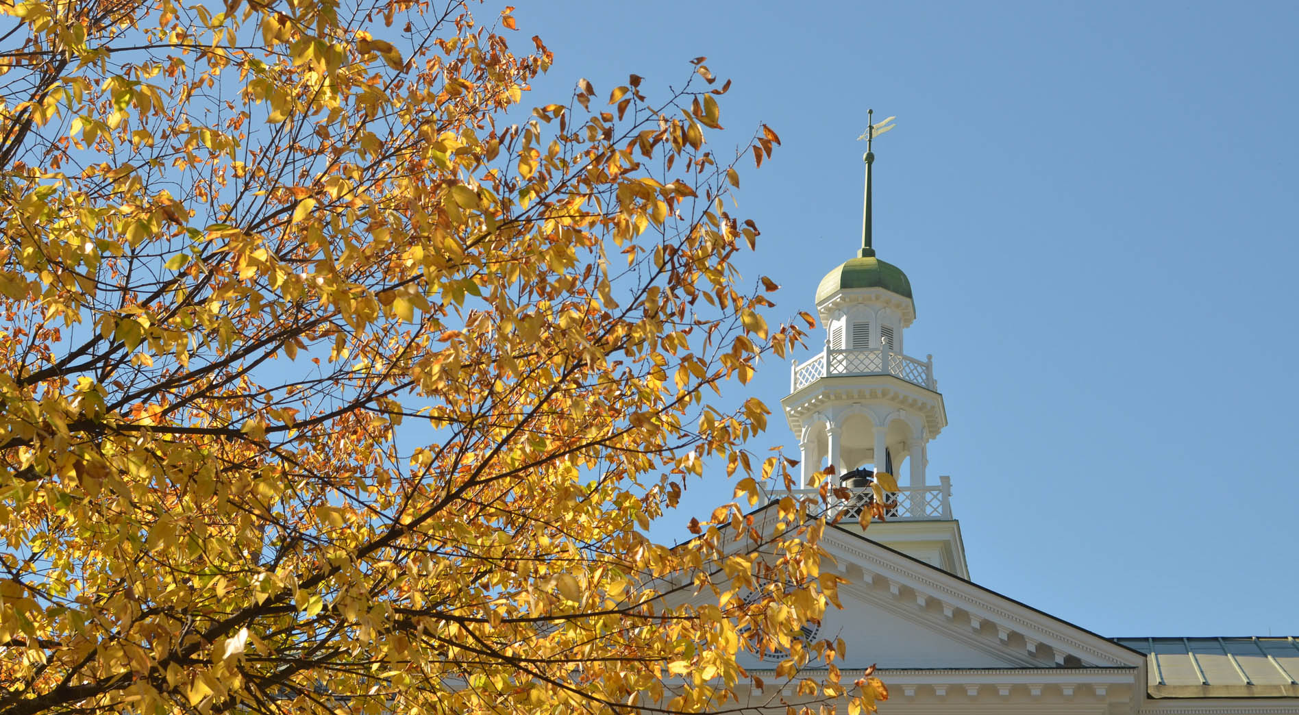 top of Dartmouth Hall in Fall foliage