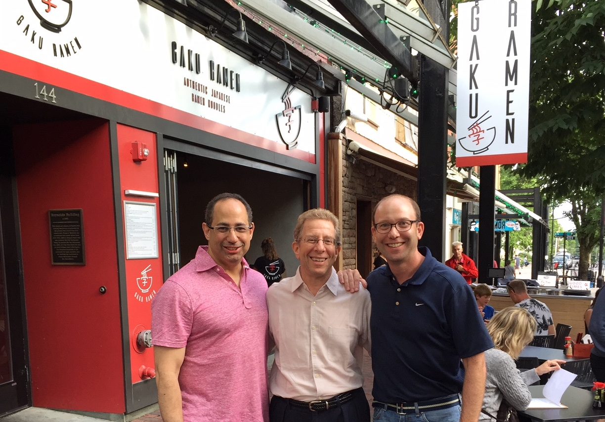 Ryan Goldstein '93, Michael March, and David Stone '93, co-owners of Gaku Ramen.