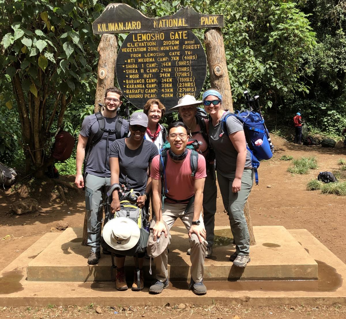 Caldeira, bottom left, with her group at the start of the hike.