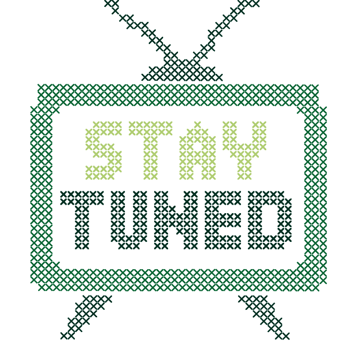 Cross stitch illustration of a television: Stay Tuned