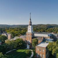 Baker Tower and campus viewed from a drone