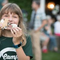 Girl with s'more