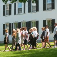 Tour group in front of Dartmouth Hall