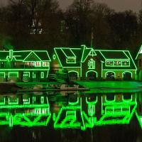 Philadelphia's Boathouse Row lit green