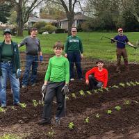 volunteers planting a garden