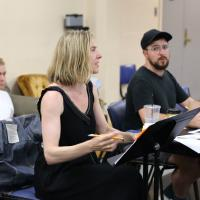 Carolyn Cantor '93 directs actors during a rehearsal at the Hop.